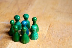 play figures, blue, green